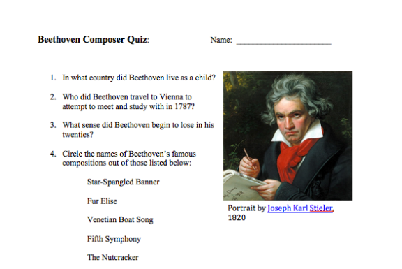 Beethoven Composer Quiz for piano students