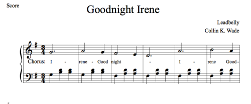 Mary - Goodnight Irene sheet music for guitar (chords) PDF