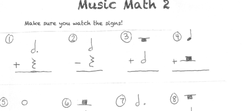 Another Free Music Math worksheet – Music Math Worksheet
