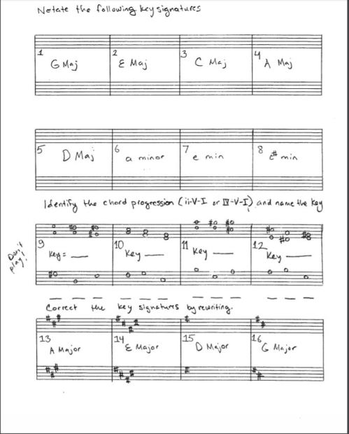 key signature worksheet pic